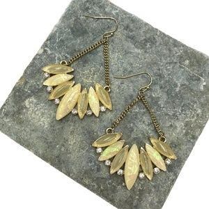 Yellow Jeweled Dangle Earrings